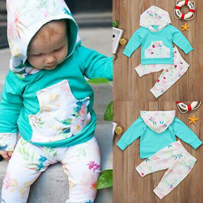 Toddler Newborn Baby Girls Floral Hooded Tops Pants Leggings Outfits Set Clothes