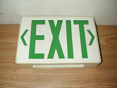 Vintage Ceiling Mountable Metal Box Green Lettered Exit Sign