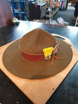 Vintage Statesman Scouts Hat Size 57 With Plume And Display Board