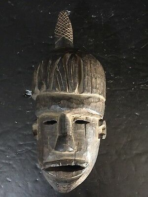 "YAO SHAMAN Priest MASK EARLY 1900S 10"" Tribal wood carved"