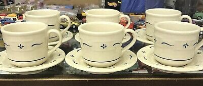 Longaberger Pottery -  Woven Traditions Classic Blue Patern Cup And Saucer Set