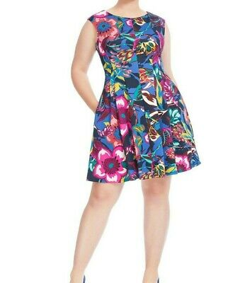 Gabby Skye Multicolored Scuba Knit Fit And Flare Dress Size 12