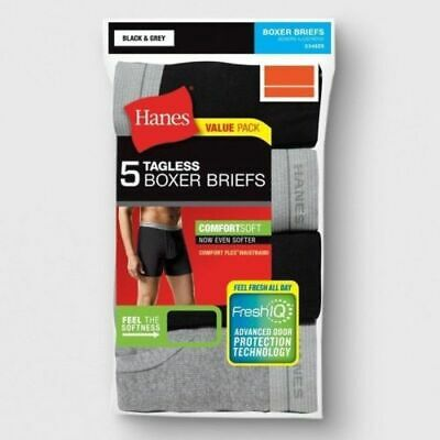 Hanes Men's TAGLESS Boxer Briefs ComfortSoft Black & Grey 6Pk Underwear Size S/P