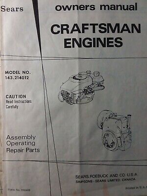TECUMSEH H70 & Hh70 Engine Parts Manual 1967 - $10 00 | PicClick