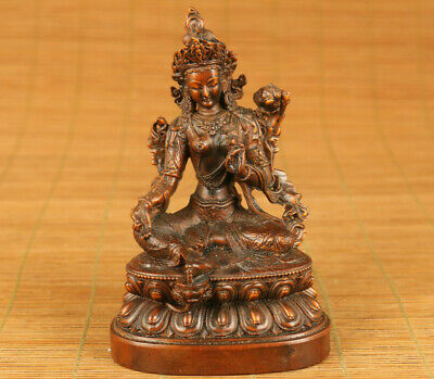 Chinese old boxwood hand carving Green Tara Buddha statue figue table decoration