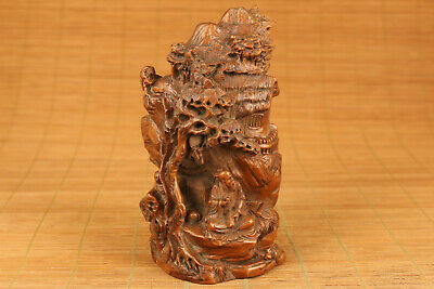chinese old boxwood hand carved antique tree buddha statue figure
