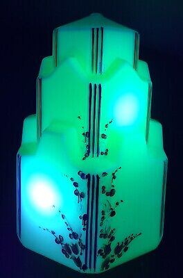 1930s ART DECO CREAM URANIUM GLASS SKYSCRAPER LIGHT LAMP SHADE RARE ANTIQUE