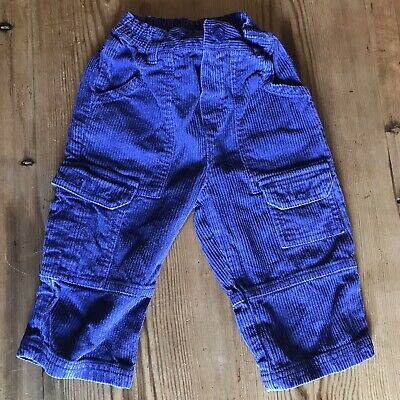 Ladybird Trousers 12 - 18 Month Pants Blue Corduroy Chunky Pockets Vintage Retro