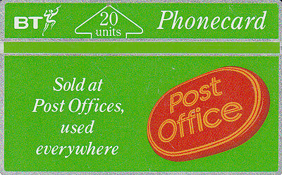 British TELECOM  Phonecard 20 units post office 110F