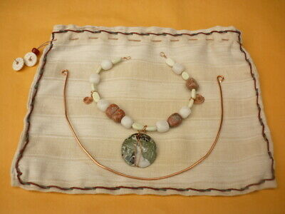 Larp Handcrafted Adaptable Copper Necklace Green Earth Disc Mixed Stones Swsw