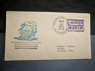 USS SEATTLE Naval Cover 1936 USS CONSTITUTION MEMORIAL DAY Cachet DECORATION DAY