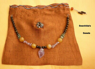 Larp Viking Handcrafted Necklace Amethyst Arrowhead, Raw Emerald Swsw