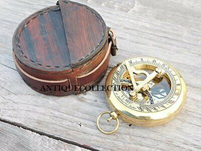 """3"""" Push Button Brass Sundial Compass Personalized Compass"""