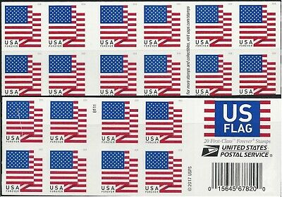 2018 #5263 US Flag Pane of 20 double-sided MNH