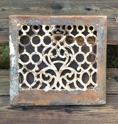 Antique Victorian Cast Iron Architectural Floor Register Grate With Louver