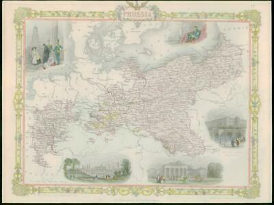 """1850 RARE Original Antique Map of """"PRUSSIA"""" Germany by TALLIS FULL COLOUR (39)"""