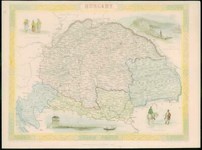 "1850 - Original Antique Map of ""HUNGARY"" by TALLIS - FULL COLOUR (19)"