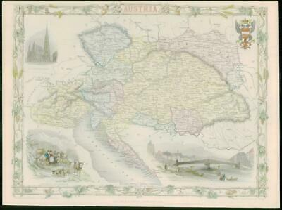 "1850 Original Antique Map of ""AUSTRIA"" by TALLIS - FULL COLOUR (3)"