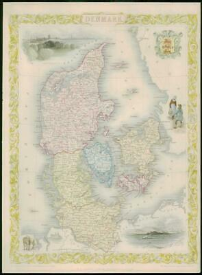 "1850 - Original Antique Map of ""DENMARK"" by TALLIS - FULL COLOUR (9)"