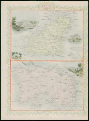 "1850 Antique Map of ""CHANNEL ISLANDS"" Jersey Guernsey TALLIS - FULL COLOUR (8)"