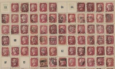 Plate 123 Victorian GB Penny Red SG43 Stamp individual stamps