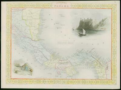 """1850 - Original Antique Map of """"ISTHMUS OF PANAMA"""" by TALLIS FULL COLOUR (46)"""