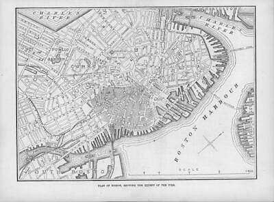 1872 Antique Print - AMERICA Boston Plan Map Harbour Fire Charles River  (108)