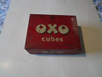 Large old vintage Oxo tin 17cm x 13 cm x 6.5 cm deep 1950's ideal for display