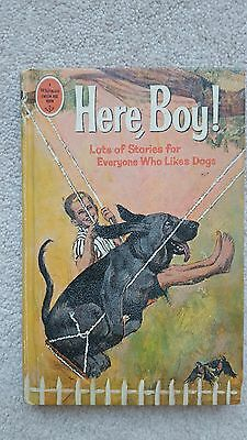 1966 Whitman Here Boy Hard Cover Book First Edition Stories About Dogs Childrens