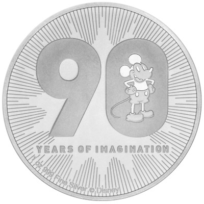 90 Jahre Mickey Mouse 1OZ silber in Münzkapsel