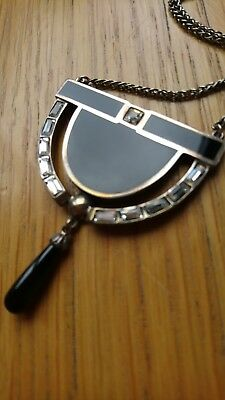 Hallmarked Sterling Silver Vintage Reproduction Art Deco Necklace Antique Style
