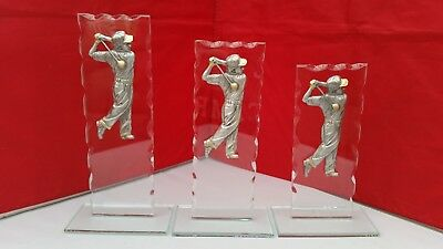 Golf Trophies/ Golf Society Awards Pewter & Jade Glass New + Free Engraving