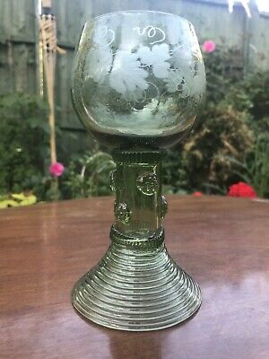 Large 19th Century Dutch / German Green Roemer with Rare Grape Vine Etch pattern