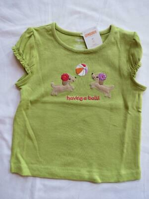 NWT Gymboree 3T Pretty Posies Lime Green Having a Ball Puppy Dog Top Tee