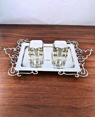 Incredible Sibray, Hall & Co. English 1897 Sterling Silver Double Inkwell 417G