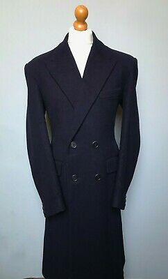 Vintage 1940's double breasted navy blue overcoat size 46