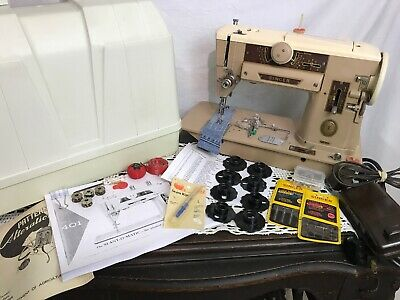 SERVICED Heavy Duty Vtg Singer 401A Sewing Machine Slant Shank, Cams, Embroidery