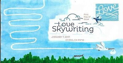 """FDC Love Skywriting """"Flight of the Stork"""" 2017 Hand Painted Cachet by Barnnie"""