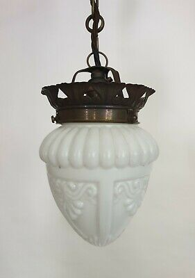 French Opaque White Ceiling Pendant Light With Aged Brass Gallery, Rewired