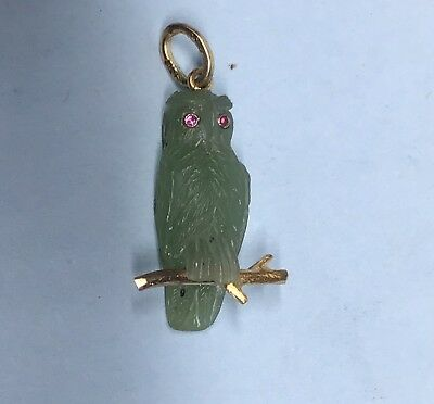 Vintage Antique Russian hand carved pendant owl