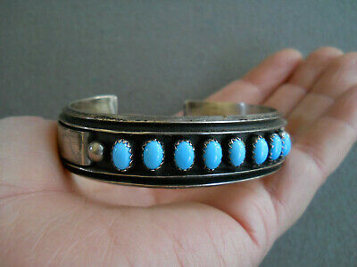 Native American Indian Turquoise Row Sterling Silver Channel Cuff Bracelet MJ
