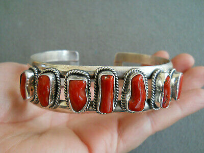 Southwestern Native American Indian Coral Row Sterling Silver Cuff Bracelet