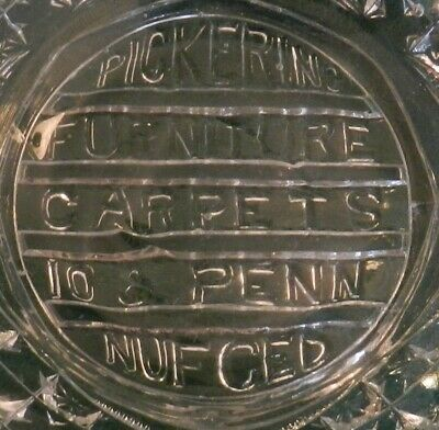 Antq EAPG Advertising Glass Bowl Pickering Furniture 10th and Penn Pitts NUF-CED