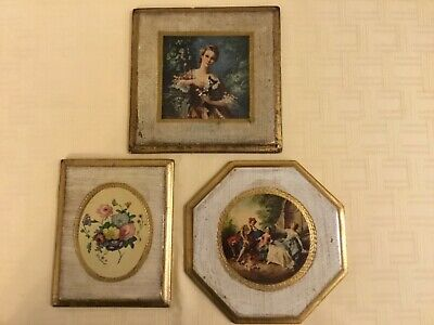 3 Vintage FLORENTINE WOOD GOLD GILT WALL PLAQUES Made In Italy