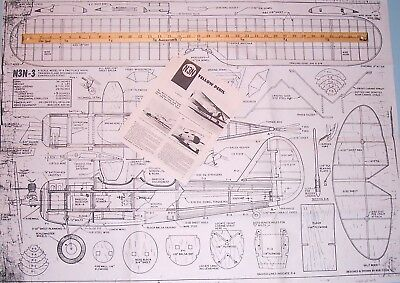 """N3N PLAN & PATTERNS + CONSTRUCTION & SCALE ARTICLES for 39"""" RC Model Airplane"""