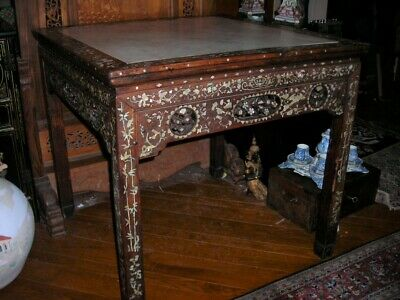 Stunning Antique 19Th C. Signed Chinese Mother Of Pearl Table 37X37X35