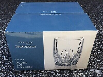 Marquis By Waterford Brookside Double Old Fashioned Glasses Set Of 4 Nib