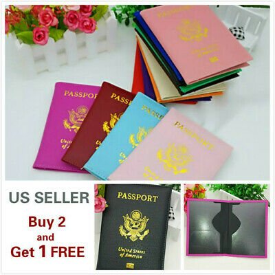 Leather Passport Holder Cover Wallet Travel Case Emblem Gold