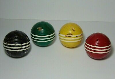 Antique Vtg 1960s OLD LOT OF 4 WOOD THREE STRIPED RIBBED CROQUET BALLS 4 COLORS