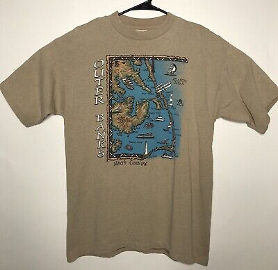 Vintage North Carolina Outer Banks T Shirt Size Large Made In USA Single Stitch